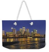 Moonrise Over River Thames Flowing Past Canary Wharf Weekender Tote Bag