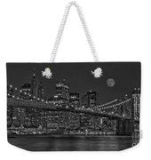 Moonrise Over The Brooklyn Bridge Bw Weekender Tote Bag by Susan Candelario