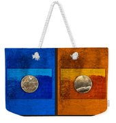 Moons On Blue And Gold Weekender Tote Bag