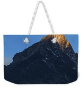 Moonset And Alpenglow Over A Snow Peak Weekender Tote Bag