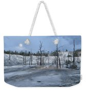 Moonset At Mammoth Terrace-yellowstone Weekender Tote Bag