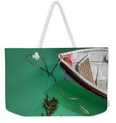 Moored Boat And Kelp Weekender Tote Bag