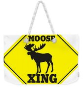 Moose Crossing Sign Weekender Tote Bag