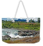 Moricetown Falls And Canyon Fishing Operation On The Bulkley River In Moricetwown-british Columbia  Weekender Tote Bag