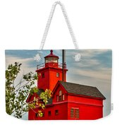 Morning At The Big Red Lighthouse Weekender Tote Bag