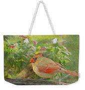 Morning Cardinal Weekender Tote Bag