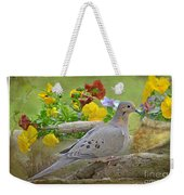 Morning Dove With Pansies Weekender Tote Bag