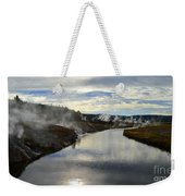 Morning In Upper Geyser Basin In Yellowstone National Park Weekender Tote Bag