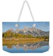 Morning Reflection Of The Teton Range Weekender Tote Bag