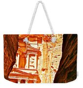 Morning View Of The Treasury From The Gorge In Petra-jordan  Weekender Tote Bag