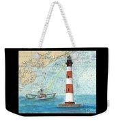 Morris Island Lighthouse Sc Nautical Chart Map Art Weekender Tote Bag