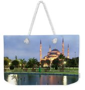 Mosque Lit Up At Dusk, Blue Mosque Weekender Tote Bag