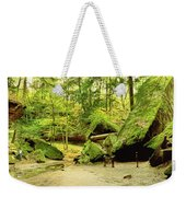Moss Covered Rocks In Forest, Rocky Weekender Tote Bag