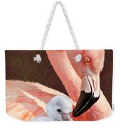 Mother And Baby Flamingo Weekender Tote Bag