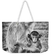 Mother And Baby Monkey Black And White Weekender Tote Bag