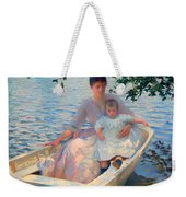 Mother And Child In A Boat Weekender Tote Bag