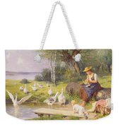 Mother And Child With Geese Weekender Tote Bag