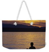 Mother And Daughter Holding Each Other Along Edmonds Beach At Su Weekender Tote Bag by Jim Corwin