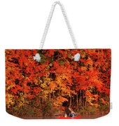 Mother And Son Canoeing Near Fall Weekender Tote Bag