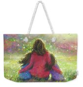 Mother And Twin Girls In Garden Weekender Tote Bag