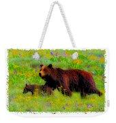 Mother Bear And Cub In Meadow Weekender Tote Bag