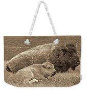 Mother Buffalo And Calf Sepia Weekender Tote Bag