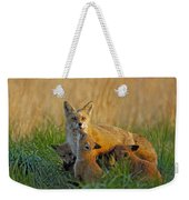 Mother Fox And Kits Weekender Tote Bag by William Jobes