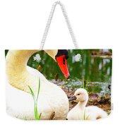 Mother Swan And Baby Weekender Tote Bag