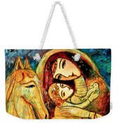 Mother With Child On Horse Weekender Tote Bag