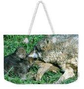 Mother Wolf Nuzzles Cubs Weekender Tote Bag