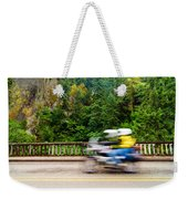 Motorcycle And Green Forest Weekender Tote Bag
