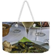 Moules And Chardonnay Weekender Tote Bag by Allen Sheffield