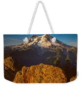 Mount Rainier At Sunset With Big Boulders In Foreground Weekender Tote Bag