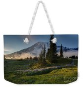 Mount Rainier Evening Fog Weekender Tote Bag
