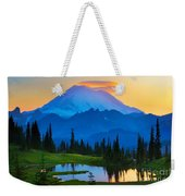Mount Rainier Goodnight Weekender Tote Bag by Inge Johnsson