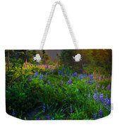 Mount Rainier Sunburst Weekender Tote Bag by Inge Johnsson