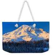 Mount Rainier Winter Evening Weekender Tote Bag