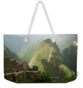 Mountain And Train Below Along Urubamba Weekender Tote Bag
