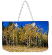 Mountain Grasses Autumn Aspens In Deep Blue Sky Weekender Tote Bag
