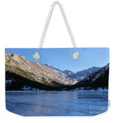 Mountain Reflection On Frozen Lake Weekender Tote Bag