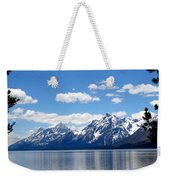 Mountain Reflection On Jenny Lake Weekender Tote Bag by Dan Sproul