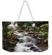 Mountain Stream With Scripture Weekender Tote Bag