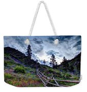 Mountain Wooden Fence  Weekender Tote Bag