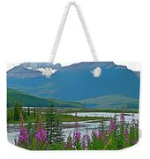Mountains And Fireweed Along North Sascatchewan River Along Icefield Parkway-ab Weekender Tote Bag