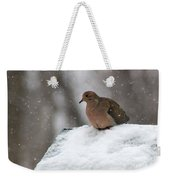 Mourning Dove In Snow Weekender Tote Bag