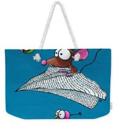 Mouse In His Paper Aeroplane Weekender Tote Bag