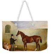 Mr Meakin Holding Sir Robert Peels Chestnut Hunter With His Dogs Hector And Jem Weekender Tote Bag