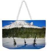 Mt Rainier And Three Trees Weekender Tote Bag