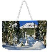 Mt Rainier At Reflection Lakes In Winter Weekender Tote Bag