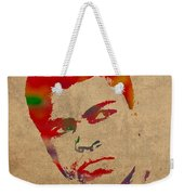 Muhammad Ali Watercolor Portrait On Worn Distressed Canvas Weekender Tote Bag by Design Turnpike